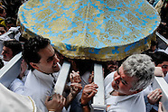 The brotherhood (Cofradía) members carry the heavy throne and enter the narrow door of the Church during the Easter in Malaga, Spain, 9 April 2007.