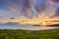 Sunset Ireland - Ring of Kerry - Scenic irish landscape view of atlantic coastline of southwest kerry during colourful sunset in the evening overlooking puffin island, the great skelligs and st. finians bay, County Kerry Ireland. Puffin Island and Skellig Michael and little skellig is a nature reserve / bs039 I love the Skelligs,