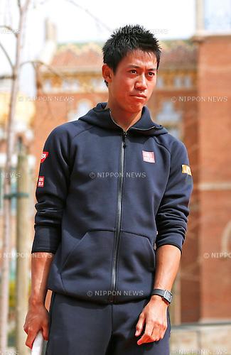 Kei Nishikori (JPN), APRIL 20, 2015 - Tennis : The ATP 500 World Tour Barcelona Open Banco Sabadell tennis tournament presentation event at St. Pau Hospital in Barcelona, Spain, (Photo by D.Nakashima/AFLO)