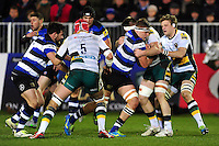Tom Ellis of Bath Rugby takes on the Northampton Saints defence. Aviva Premiership match, between Bath Rugby and Northampton Saints on February 10, 2017 at the Recreation Ground in Bath, England. Photo by: Patrick Khachfe / Onside Images