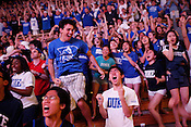 Duke student Stephen Han bears witness to the final seconds of the NCAA championship game against the Bultler Bulldogs inside Cameron Indoor Stadium. The Blue Devils eeked out a win 61-59 in a breathtaking finish to an unexpected championship season, the fourth for the university.