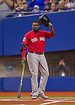 2 April 2016: Boston Red Sox designated hitter David Ortiz at bat during a pre-season exhibition game against the Toronto Blue Jays at Olympic Stadium in Montreal, Quebec, Canada. The Red Sox defeated the Blue Jays 7-4 in the second of two MLB weekend games, which saw a two-game series attendance of 106,102 at the former home on the Montreal Expos. Mandatory Credit: Ed Wolfstein Photo *** RAW (NEF) Image File Available ***