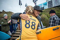 BELLS BEACH, Victoria/AUS (Monday, April 17, 2017) Stephanie Gilmore (AUS)  with Kelly Slater (USA) - The Rip Curl Pro Bells Beach, Stop No. 3 of the World Surf League (WSL) Championship Tour (CT), was been called ON in four-to-six foot (1 - 2 metre) conditions at the world-renowned Bells Beach. Up first will be the remaining five heats of men&rsquo;s Round 3, followed by the women&rsquo;s Quarterfinals, semi's and final. Defending event winner Courtney Conlogue (USA) claimed her second Bell's bell by defeating Stephanie Gilmore (AUS) in the 40 minute final. Gilmore retains the rating lead and while be wearing he yellow leaders jersey when the tour moves to Brazil.<br /> Photo: joliphotos.com