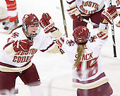 Danielle Welch (BC - 17), Kelli Stack (BC - 16) - The Boston College Eagles defeated the Boston University Terriers 2-1 in the opening round of the Beanpot on Tuesday, February 8, 2011, at Conte Forum in Chestnut Hill, Massachusetts.