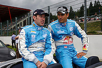 Ryan Sharp (GBR) and Karl Wendlinger (AUT), pilots from the Aston Martin DB9 GT1 #33, Team JetAlliance Racing, during the pilots's parade, Saturday, August 2, 2008, in Spa-Francorchamps, Belgium. (Valentin Bianchi/pressphotointl.com)
