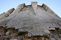 LES ANDELEYS, FRANCE - OCTOBER 10: Low angle view of the machicolations on the inner side of the keep of the Chateau Gaillard, on October 10, 2008 in Les Andelys, Normandy, France. The chateau was built by Richard the Lionheart in 1196, came under French control in 1204 following a siege in 1203. It was later destroyed by Henry IV in 1603 and classified as Monuments Historiques in 1852. (Photo by Manuel Cohen)