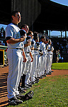 12 July 2007: Vermont Lake Monsters stand outside the dugout prior to a game against the Mahoning Valley Scrappers at Historic Centennial Field in Burlington, Vermont. The Scrappers defeated the Lake Monsters 11-2 in the first game of their NY Penn-League double-header...Mandatory Photo Credit: Ed Wolfstein Photo
