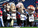 29 August 2010: Washington Nationals' Racing Presidents entertain the fans between innings of a game against the St. Louis Cardinals at Nationals Park in Washington, DC. The Nationals defeated the Cards 4-2 to take the final game of their 4-game series. Mandatory Credit: Ed Wolfstein Photo