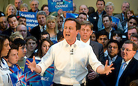 David Cameron during a rally at Linn Products for the Scottish Conservative Party for the General Election 2010..4 May 2010 Picture: Maurice McDonald/Universal News And Sport (Europe)...
