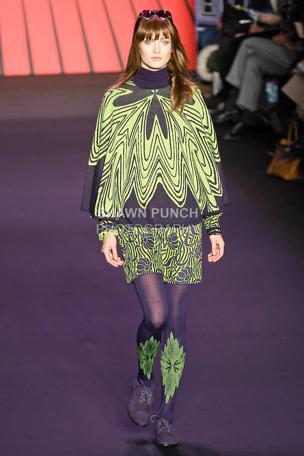 Karmen Pedaru walks runway in an outfit from the Anna Sui Fall 2011 collection, during Mercedes-Benz Fashion Week Fall 2011.