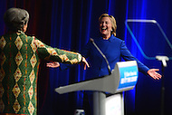 Washington, DC - November 16, 2016: Former Secretary of State and  U.S. presidential candidate Hillary Clinton greets Marian Wright Edelman before speaking at the 'Beat the Odds Celebration' sponsored by the Children's Defense Fund at the Newseum in the District of Columbia, November 16, 2016.  (Photo by Don Baxter/Media Images International)