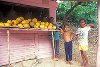 Dominican bys at a roadside fruit stand, Barahona, Dominican Republic