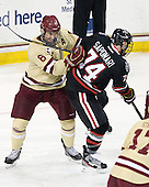 Patrick Wey (BC - 6), Vinny Saponari (NU - 74) - The Boston College Eagles defeated the visiting Northeastern University Huskies 3-0 after a banner-raising ceremony for BC's 2012 national championship on Saturday, October 20, 2012, at Kelley Rink in Conte Forum in Chestnut Hill, Massachusetts.
