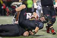 College Park, MD - October 22, 2016: Maryland Terrapins quarterback Perry Hills (11) gets tackled during game between Michigan St. and Maryland at  Capital One Field at Maryland Stadium in College Park, MD.  (Photo by Elliott Brown/Media Images International)