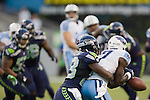 Seattle Seahawks' cornerback MArcus Trufant )R) pass defends against Tennessee Titans wide receiver Damian Williams in a pre-season game  at CenturyLink Field in Seattle, Washington on August 11, 2012. ©2012. Jim Bryant Photo. All Rights Reserved...