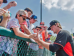 19 March 2015: Miami Marlins pitcher Tom Koehler signs autographs prior to a Spring Training game against the Atlanta Braves at Champion Stadium in the ESPN Wide World of Sports Complex in Kissimmee, Florida. The Braves defeated the Marlins 6-3 in Grapefruit League play. Mandatory Credit: Ed Wolfstein Photo *** RAW (NEF) Image File Available ***