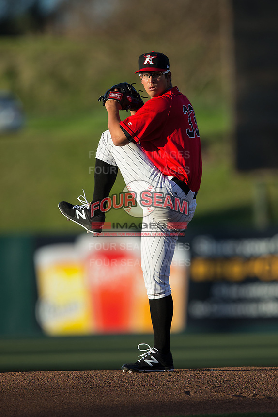 Kannapolis Intimidators starting pitcher Dane Dunning (33) in action against the Lakewood BlueClaws at Kannapolis Intimidators Stadium on April 8, 2017 in Kannapolis, North Carolina.  The BlueClaws defeated the Intimidators 8-4 in 10 innings.  (Brian Westerholt/Four Seam Images)