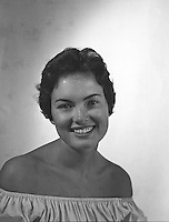 Portrait of Meredith Auld (Brokaw) in 1959, the year she won the Miss South Dakota Talent and Beauty Pageant. Photographs were taken by pageant producer and professional photographer, Don Mueller.