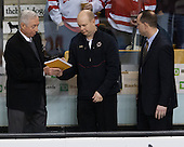 Jerry York (BC - Head Coach), John Hegarty (BC - Director, Hockey Operations), Mike Cavanaugh (BC - Associate Head Coach) - The Boston College Eagles defeated the Harvard University Crimson 4-1 in the opening round of the 2013 Beanpot tournament on Monday, February 4, 2013, at TD Garden in Boston, Massachusetts.