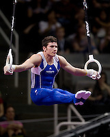 Alexander Naddour of Hilton HHonors competes on the rings during the 2012 US Olympic Trials competition at HP Pavilion in San Jose, California on June 28th, 2012.