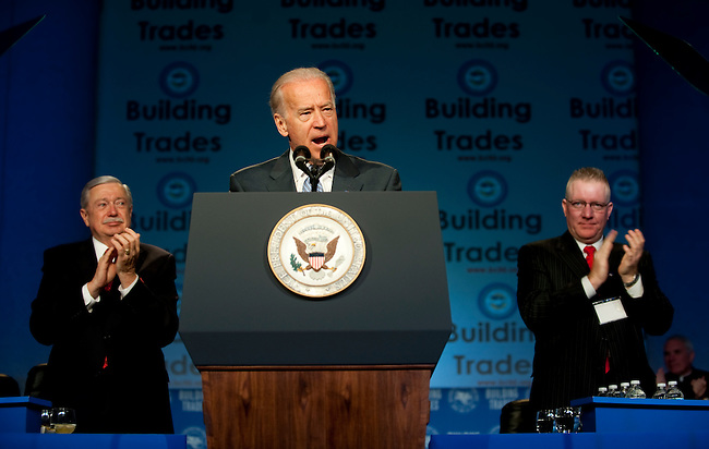 Apr 19,2010 - Washington, District of Columbia USA - .Vice President Joe Biden addresses the Building and Construction Trades Department, AFL-CIO's 2010 National Legislative Conference at the Washington Hilton on Monday.(Credit Image: &copy; Pete Marovich/ZUMA Press)