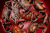 Brazilian cuisine, Crabs for sale in open-air market. Belem city, Para State, Brazil.