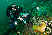 The cameraman is using an Amphibico housing equipped with a wide angle dome and lights.  Pulau Tiga, on the west coast of Sabah, Malaysia, is well known as the location for the first UK Survivor TV programme.
