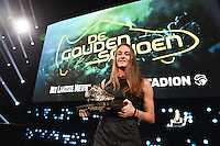 20170208 – LINT ,  BELGIUM : Winner of the Golden Shoe 2017 TESSA WULLAERT pictured during the  63nd men edition of the Golden Shoe award ceremony and 1st Women's edition, Wednesday 8 February 2017, in Lint AED studio. The Golden Shoe (Gouden Schoen / Soulier d'Or) is an award for the best soccer player of the Belgian Jupiler Pro League championship during the year 2016. The female edition is a first in Belgium.  PHOTO DIRK VUYLSTEKE   Sportpix.be