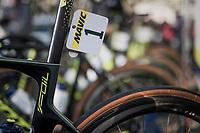 Mathew Haymen's (AUS/Orica-Scott)  defending champion's race number #1<br /> <br /> 115th Paris-Roubaix 2017 (1.UWT)<br /> One Day Race: Compi&egrave;gne &rsaquo; Roubaix (257km)