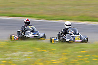 Teddy Bassick, 96, Daniel Sayles, 75, race in the Rotax Heavy class during the 2012 Superkart National Champs and Grand Prix at Manfeild in Feilding, New Zealand on Saturday, 7 January 2011. Credit: Hagen Hopkins.