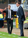Dundee United v St Johnstone...24.08.13      SPFL<br /> Jackie McNamara shouts instructions as Tommy Wright looks on<br /> Picture by Graeme Hart.<br /> Copyright Perthshire Picture Agency<br /> Tel: 01738 623350  Mobile: 07990 594431