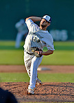 30 June 2012: Vermont Lake Monsters pitcher Logan Chitwood on the mound during a game against the Lowell Spinners at Centennial Field in Burlington, Vermont. Mandatory Credit: Ed Wolfstein Photo