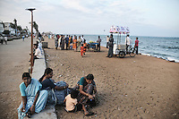 Indian tourists at the sea beach of Pondicherry. Arindam Mukherjee