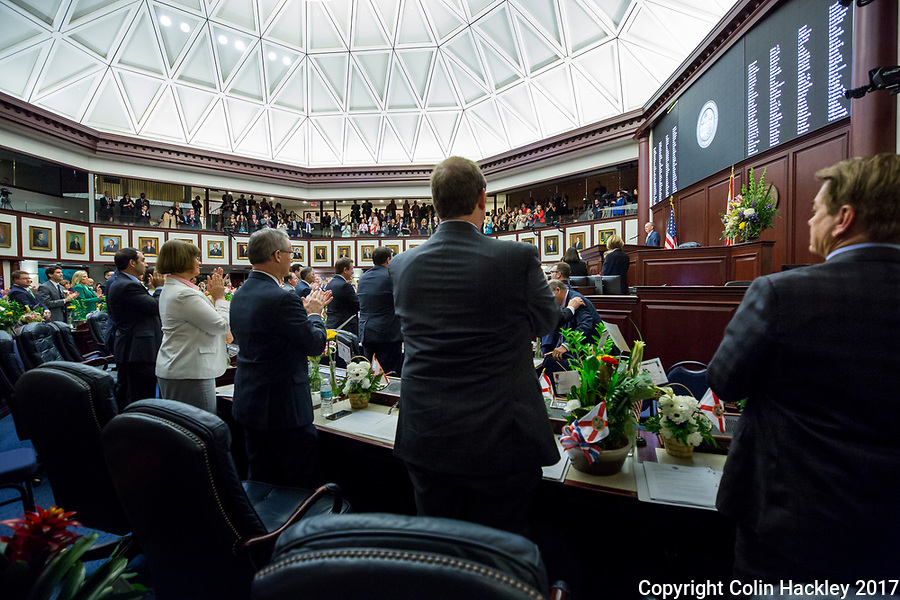 TALLAHASSEE, FLA. 3/7/17-House Speaker Richard Corcoran, R-Land O'Lakes, receives a standing ovation from his colleagues during opening day of the legislative session at the Capitol in Tallahassee.<br /> <br /> COLIN HACKLEY PHOTO
