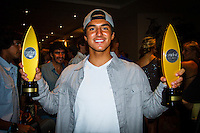 HONOLULU, Oahu, Turtle Bay Resort. Thursday 6th 2012. Gabriel Medina (BRA). .Since moving the show to Oahu's North Shore three years ago, the 2012 SURFER Poll saw its largest turn out ever. From surfing's best to local legends, the packed house witnessed another historic night, as Kelly Slater (USA) and Stephanie Gilmore (AUS) won this year's Men's and Women's Polls. Gabriel Medina (BRA) won the Andy Irons Break Out Performer of the year award and finished #4 on the Surfer Poll while Dane Reynolds (USA) picked up two awards as well. Photo: joliphotos.com