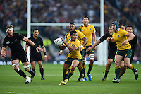 Will Genia of Australia in possession. Rugby World Cup Final between New Zealand and Australia on October 31, 2015 at Twickenham Stadium in London, England. Photo by: Patrick Khachfe / Onside Images