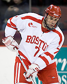 Brian Strait (BU - 7) - The Boston University Terriers defeated the University of Maine Black Bears 1-0 (OT) on Saturday, February 16, 2008 at Agganis Arena in Boston, Massachusetts.