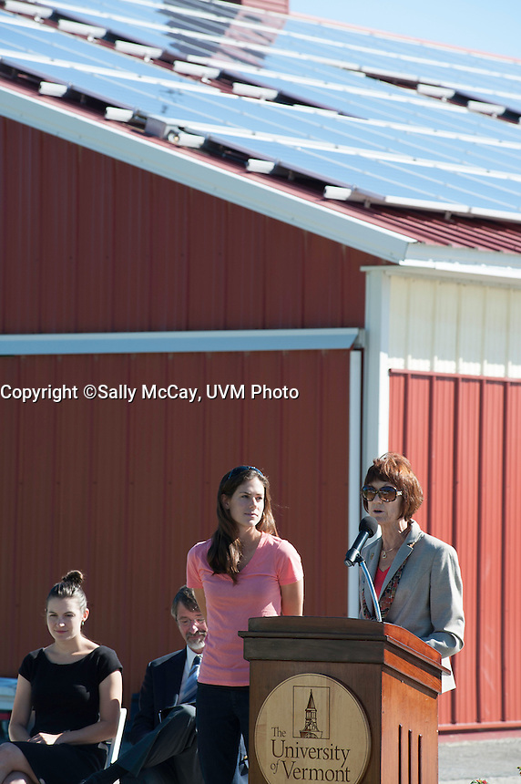 Solar Panels are unveiled at the UVM Equine.Center at the UVM Farm.  Dean Thomas Vogelmann, Chuck Ross