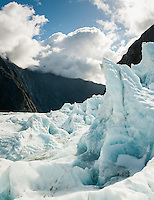 Ice formations on Franz Josef Glacier, Westland Tai Poutini National Park, UNESCO World Heritage Area, West Coast, New Zealand, NZ