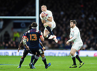 Mike Brown of England claims the ball in the air. RBS Six Nations match between England and France on February 4, 2017 at Twickenham Stadium in London, England. Photo by: Patrick Khachfe / Onside Images