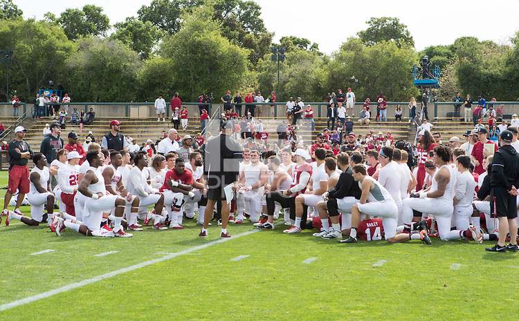 Stanford, CA - April15, 2017:  End of the Cardinal and White Spring Game at Cagan Stadium.