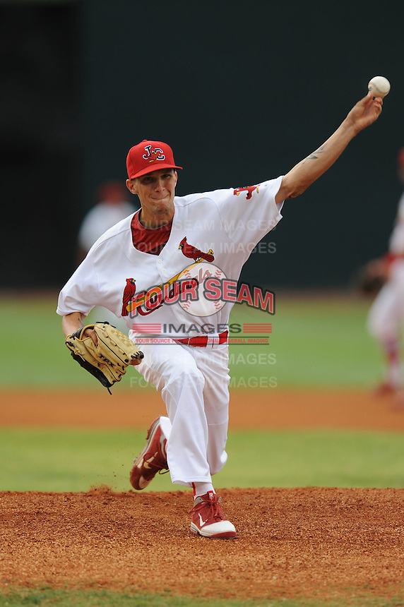 Johnson City Cardinals pitcher Ben Freeman #19 delivers a pitch during a game against the Princeton Rays at Howard Johnson Field on July 15, 2011 in Johnson City, Tennessee. Johnson City won the game 7-6.   (Tony Farlow/Four Seam Images)