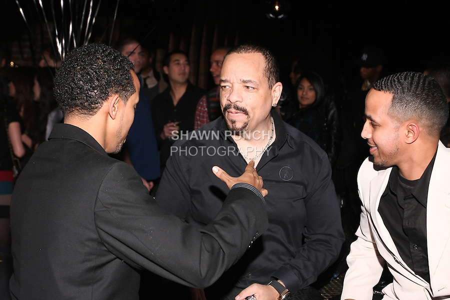 Fans conversing with Ice T, at the Sachika Twins - To-Tam Ton-Nu, and To-Nya Ton-Nu - Birthday party, at Juliet Supper Club NYC, December 13 2010.