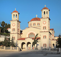 New Orthodox Cathedral of Berat, in Berat, South-Central Albania, capital of the District of Berat and the County of Berat. This is one of the new churches of the Autocephalous Orthodox Church of Albania or Kisha Ortodokse Autoqefale e Shqiperise, a new Eastern Orthodox church, which declared its autocephaly in 1922. Picture by Manuel Cohen