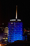 Capitol Records at night in Hollywood