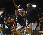 "The Ole Miss bench cheers at the C.M. ""Tad"" Smith Coliseum in Oxford, Miss. on Sunday, January 2, 2011. Mississippi won 72-67. (AP Photo/Oxford Eagle, Bruce Newman)"