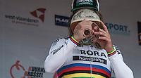 race winner Peter Sagan (SVK/Bora-Hansgrohe) &amp; his winners beer on the podium<br /> <br /> 69th Kuurne-Brussel-Kuurne 2017 (1.HC)