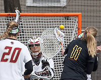 Boston College goalkeeper Emily Mata (33)..University of Maryland (black) defeated Boston College (white), 13-5, on the Newton Campus Lacrosse Field at Boston College, on March 16, 2013.