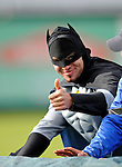 19 June 2008: Vermont Lake Monsters superhero character Batman helps remove the infield tarpaulin prior to a game against the Oneonta Tigers at historic Centennial Field in Burlington, Vermont. The Tigers defeated the Lake Monsters 13-8 in the rubber match of their three-game season opening series in Vermont...Mandatory Credit: Ed Wolfstein Photo