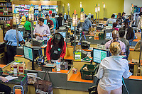 The front end of the Whole Foods supermarket in Union Square in New York on Thursday, May 7, 2015. Whole Foods announced it will be open lower-priced stores appealing to millennials. The millennial markets, as yet unnamed, are scheduled to open in 2016.  (© Richard B. Levine)